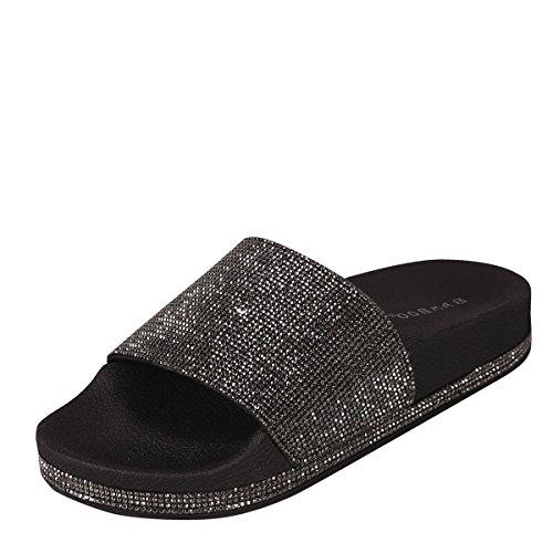 Bamboo Womens Open Toe Jeweled Rhinostone Slide Flip Flops Flat Sandal Slippers 7 Black