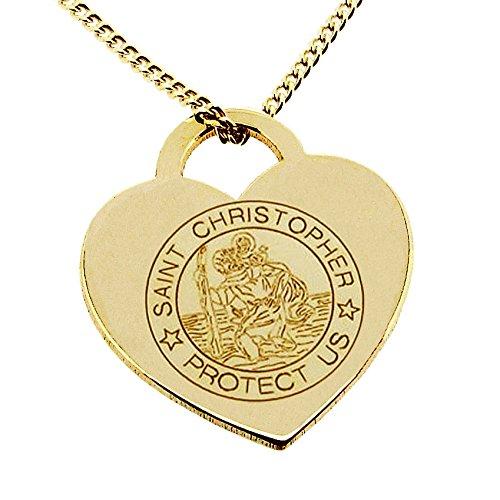 Étui personnalisable avec votre gravure en or jaune massif 9 ct gravée Saint Christophe-Pendentif Coeur dans une boîte-cadeau