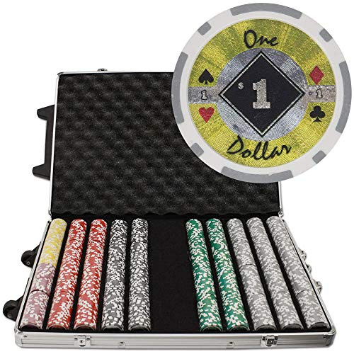 Brybelly 1,000 Ct Black Diamond Poker Set - 14g Clay Composite Chips with Aluminum Case, Playing Cards, Dealer Button ()