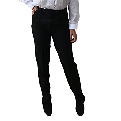 Broadway Tuxmakers Women's Black Tuxedo Pants with Satin Stripe, Polyester, Double Pleated at Women's Clothing store