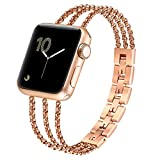 fastgo Compatible for Apple Watch Band 38mm 42mm 40mm 44mm Iwatch Bracelet Series 4/3/2/1, Women and Girls Stainless Steel Metal Cuff Watch Band Compatible for Apple Watch Bangle Wristband(Gold)