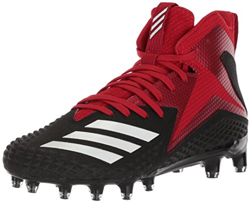 adidas Men's Freak X Carbon Mid Football Shoe, Black/White/Power red, 13.5 M US