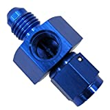 Dracary Nitrous Adapter With Two 1/8'' NPT Ports For Gauge Paurge -4 AN Male To -4 AN Female Blue (4AN)