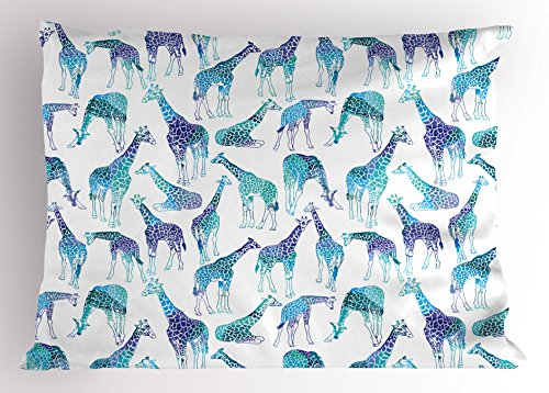 Lunarable Giraffe Pillow Sham, Abstract Animal Various Poses Sitting Eating Walking African Inspiration, Decorative Standard King Size Printed Pillowcase, 36 X 20 inches, Violet Teal Pale Blue by Lunarable