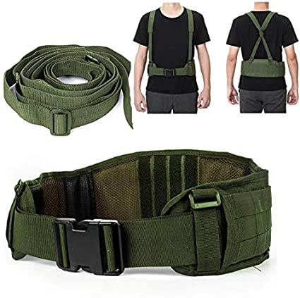 Cinturón Táctico Heavy Duty ajustable seguridad táctico Molle cinturón con libre correa para equipo de caza y actividades al aire libre(Army Green)