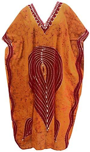 Caftano Pigiama Di Batik Libero Loungewear Formato Giorni Vestiti Maxi Cotone Kimono Lungo Kaftan Tunica Gu Vestito La Leela Per Spiaggia Tutti Donne Coprire Vacanze Arancione I q301 Partito n0kOXNPZ8w