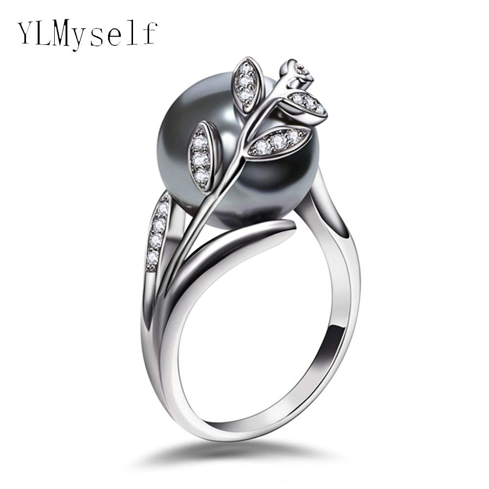 RINGQL Trendy hot Ring with Gray Pearl and Cubic Zircon Women Jewelry Dropshipping anel anillos aneis Femme Statement Leaf Finger Rings