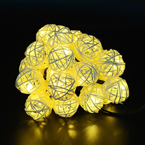 Aluvee Christmas Solar String Lights 15.8ft 20 LED Rattan Globe String Lights Decorative Lighting for Outdoor Home Garden Patio Party and Holiday Warm White Color (String Patio Lighting Outdoor)