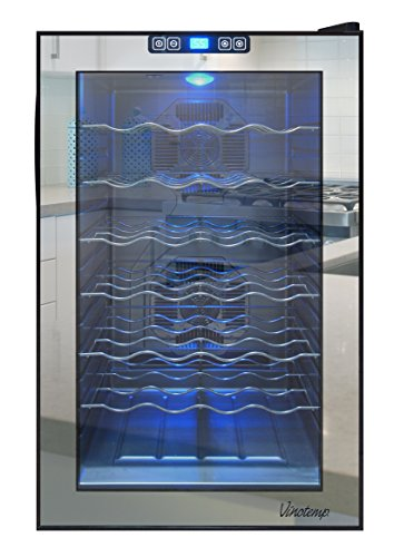 Vinotemp VNTVT-28TSBM 28-Bottle Mirrored Thermoelectric Wine (Vinotemp Wine Cooler)