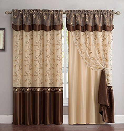 - Fancy Collection Embroidery Curtain Set 4 Panel Drapes with Backing & Valance Coffee/Brown (220