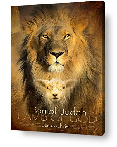 Amazon.com: The Lion of Judah and The Lamb of God - Christian Wall ...