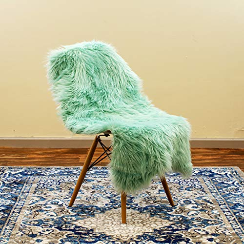 Super Area Rugs Silky Shag Rug Faux Fur Sheepskin Chair Cover Rugs in Mint Green, 2 6 x 4 Sheepskin Pelt