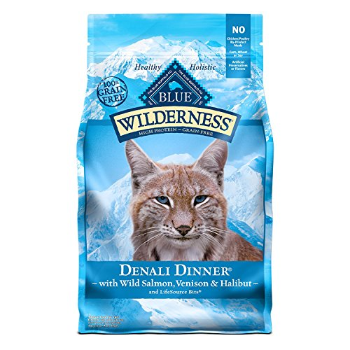 - Blue Buffalo Wilderness High Protein Grain Free, Natural Adult Dry Cat Food, Denali Dinner with Wild Salmon, Venison & Halibut 4lb
