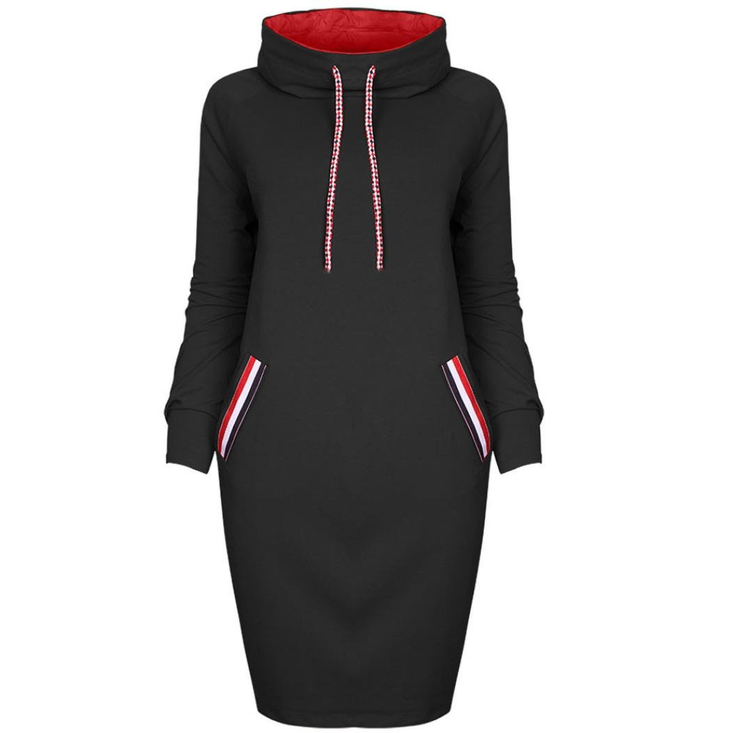 Leey Damen Mode Hoodie mit Zip Langarm Pullover Jumper Pulli Sweatshirt Jumper Sweatkleid 4 Farben