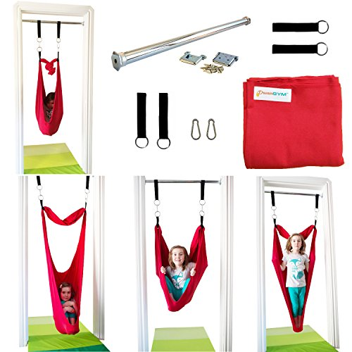 Sensory Doorway Swing by DreamGYM | Therapy Indoor Swing | 92% Cotton | Hardware Included (Red) by DreamGYM