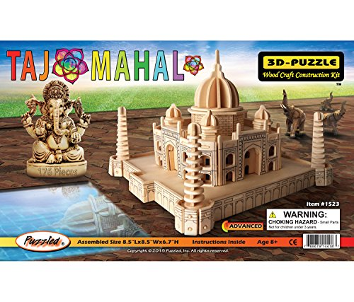 Free Puzzled Taj Mahal 3-D Wooden Puzzle - Famous Sites Collection - Affordable Gift For Kids and Adults - Item #1523