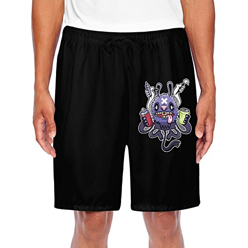HNN Men's Monster Painting Shorts Sweatpants (Leonardo Monster Truck)