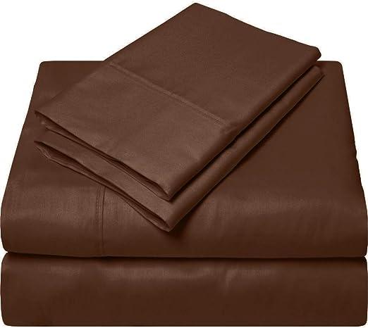 SGI Bedding Europe Collection - Juego de sábanas de algodón Egipcio (600 Hilos, 100% algodón Egipcio, 4 Piezas, 38 Hilos, Bolsillo Profundo, Todos los tamaños y Colores, 38 cm), Chocolate, Emperor: Amazon.es: Hogar