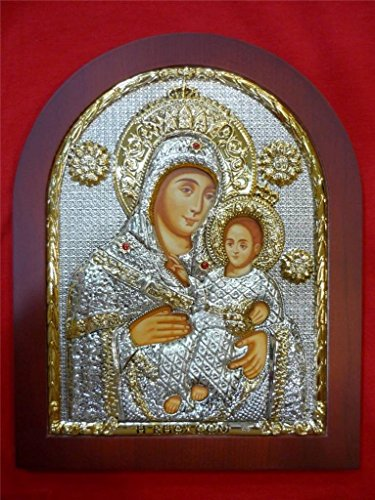 Sterling Silver Jerusalem Icon Of Virgin Mary With Baby Jesus With Wood Frame 11