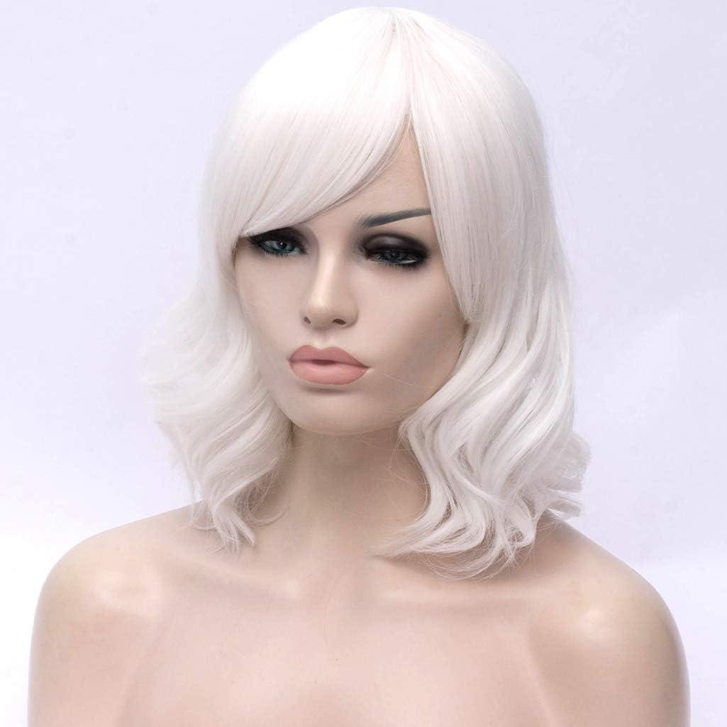 Bianco ATAYOU/® Donne Corte Ondulate Parrucche Bianco Sintetiche Bob Parrucca Cosplay di Halloween