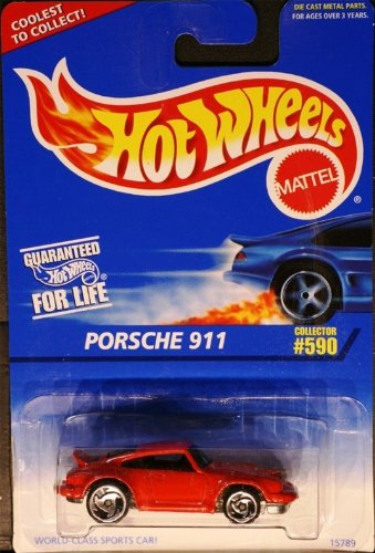 1997 - Mattel - Hot Wheels - Porsche 911 - Red - Saw Blade Wheels / Large Rear Wheel - 1:64 Scale Die Cast - Collector #590 - MOC - Limited Edition - Collectible
