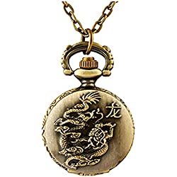 Retro Chinese Zodiac Pattern Pendant Necklace Watch Quartz Pocket Watch with Chain (Small) (Dragon)
