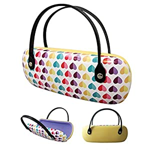 Children's Glasses Case - Colorful Hearts Pattern Hard Plastic - By OptiPlix