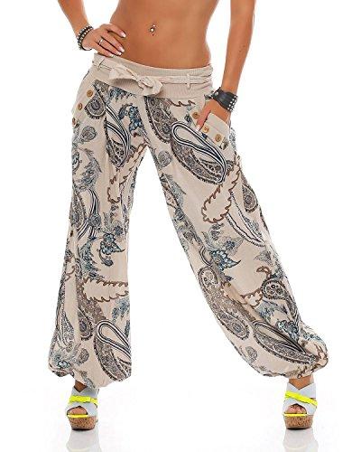 Beige Summer In Cintura Unica Stampati Taglia Bloomers Ladies Pantaloni Con Cotone Zarmexx CqRPwIEn