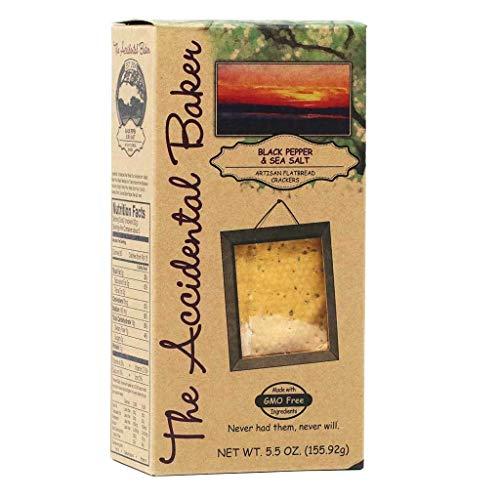 (THE ACCIDENTAL BAKER Black Pepper & Sea Salt Artisan Flatbread Crackers, 5.25 OZ)
