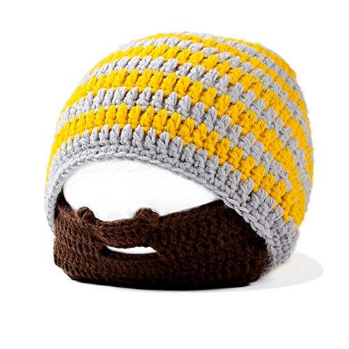 IMLECK Unisex Funny Wind Detachable Beard Hand-Knit Hat