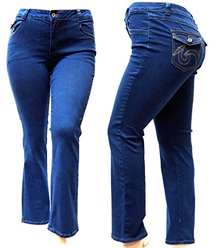 - Jack David Women's Plus Size Blue/Black Curvy Stretch Flap Pocket Skinny/Bootcut Denim Jeans Pants (14, Dark Blue A710 Bootcut Straight Leg)