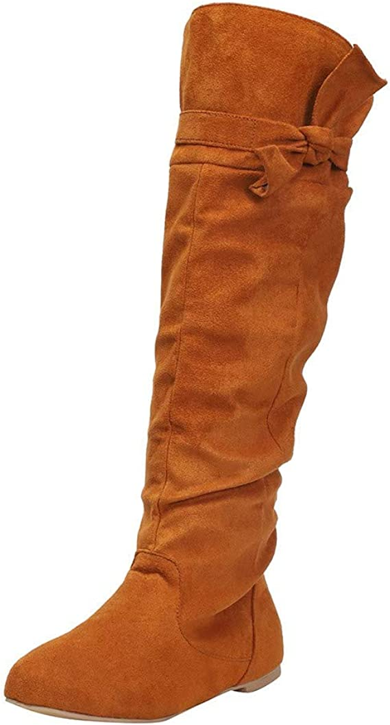 Suede Knee High Boots for Women Low