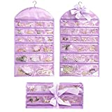 Ominic Hanging Pocket Travel Jewelry Holder Organizer Roll Wall Mounted with Zippers Accessory Storage Bag, Rolls Up, 40 Pockets, Dual Sides, Premium Hanger (Purple)
