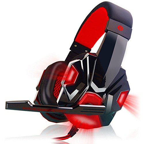 qiaowゲーム用ヘッドセットマイクとLEDライト付きforラップトップコンピュータ3.5 MM有線ノイズ隔離ボリュームコントロールゲーム用ヘッドホン, 2C3151210B2 B07DD7D4M3 レッド