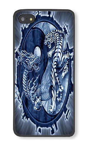Amazon Com Iphone 5s Case Aoffly Dragon Tiger Tattoo Yin Yang Black