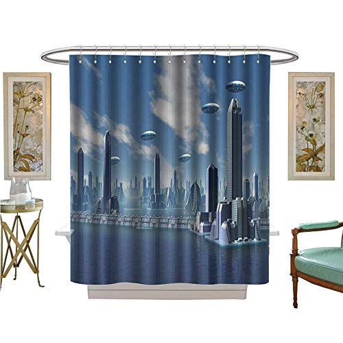 luvoluxhome Shower Curtains 3D Digital Printing UFO Over Alien City Bathroom Accessories W69 x L84