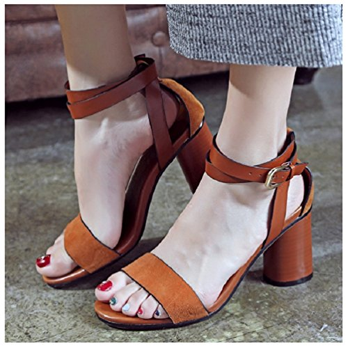 Hanxue Brown Chunky Sandals Womens Ankle Heel Strap 7w7xarzqO