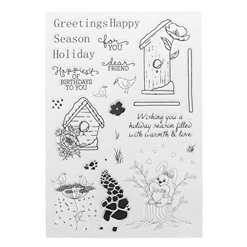 ShapeW Happy Birthday Clear Stamps for Card Making,Clear Stamps Cutting Dies Transparent Stamps for Scrapbooking DIY Embossing Folder Template Crafts Card Album Creative Gift