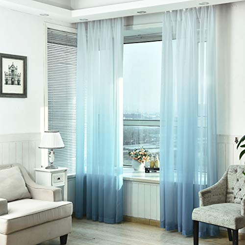 - Yastouay Ombre Sheer Curtains Voile Sheer Curtains Semi Sheer Curtain for Bedroom Living Room Set of 2 Curtain Panels 52W x 84L inch Blue Gradient