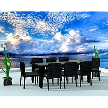 UrbanFurnishing.net - 9 Piece Wicker Outdoor Patio Dining Set - Black Wicker / Charcoal
