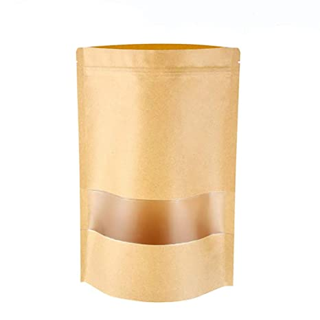 meridy Bolsa de Papel Kraft Reutilizables Marrón Ziplock Auto Sellante Stand Up con Ventana Transparente Impermeables Aplicar DIY Té Granos de Café ...