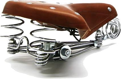echtes Leder Bergsteigen klassische S/ättel Braun Retro Radfahren Matte JIAODIE Fahrradsattel Vintage-Sitzkissen f/ür Stadt Reiten Kissen