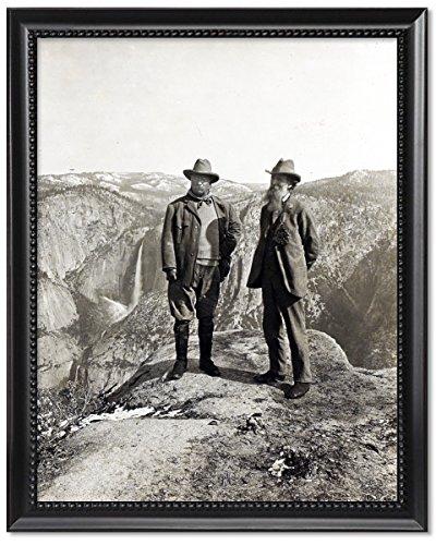 ClassicPix Black Wood Framed Print 11x14: Theodore Roosevelt and John Muir On Glacier Point, Yosemite.
