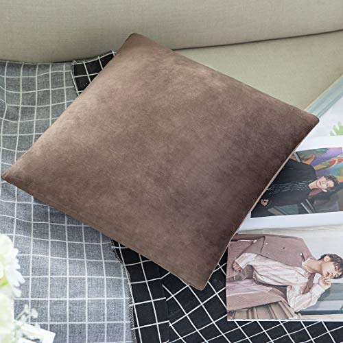 LBANI Decorative Throw Pillow Covers Velvet Soft Pillowcases, Cushion Covers Pillowcases, Home Decor Decorations for Sofa Couch Bed Chair Brown-18 x 18 - Brown Velvet Cushion