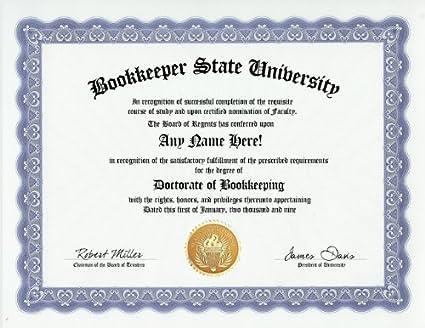 .com: bookkeeper bookkeeping degree: custom gag diploma ...
