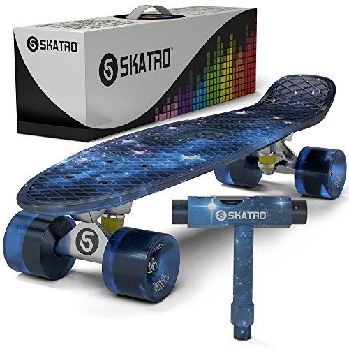 Complete Mini Longboard Skateboard - Skatro - Mini Cruiser Skateboard. 22x6inch Retro Style Plastic Board Comes Complete