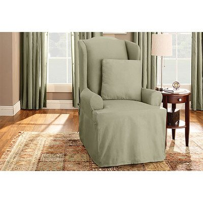 Merveilleux Cotton Duck Wing Chair T Cushion Slipcover Color: Sage
