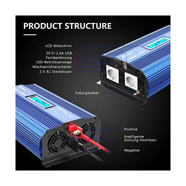 51BXbgTs0jL Reiner Sinus Wechselrichter 1500W Spannungswandler 12V auf 230V Power Inverter mit 2 AC-Steckdosen 2x2.4A USB-Anschlüsse…