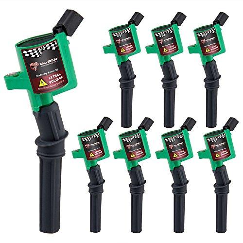 (High Energy Ignition Coil for Ford Lincoln 4.6L 5.4L 6.8L V8 V10 Engine Coil Pack of 8 (dg508, Green))