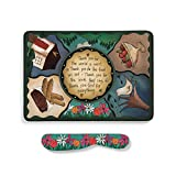 Table Prayer Multicolored 9 x 7 Melamine Cheese Plate With Spreader Set